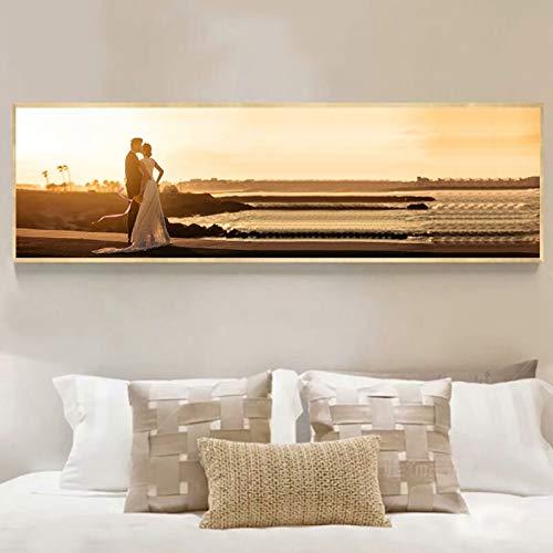 YuanMinglu Cartel de Arte y Mural Impreso en el Lienzo en Sunset Beach Love Imagen de Arte de Pared romántica para Sala de Estar decoración del hogar Pintura sin Marco 45x135cm