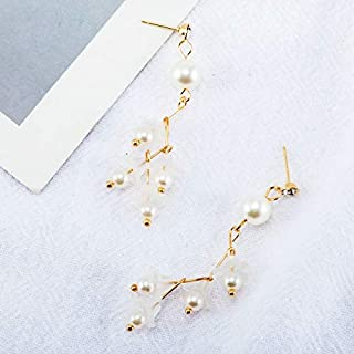 Earrings Fashion Elegant Cute Flower Pearl Long Drop Earring(Light Green) Earrings (Color : Beige)