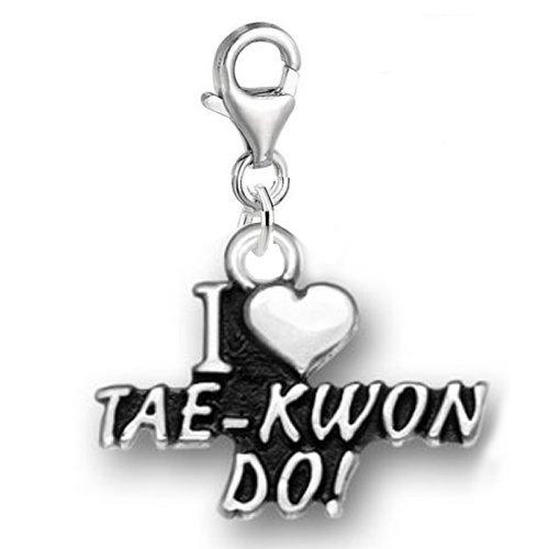 Sexy Sparkles Damen I Love tae-kwon-do Clip auf für Armband Charm Anhänger Schmuck W/Karabinerverschluss