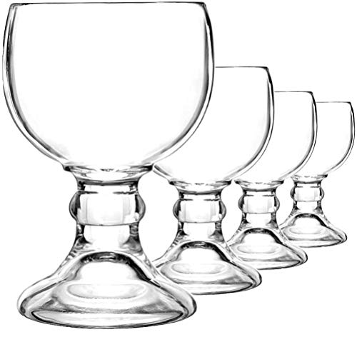 Schooner Style Beer & Shrimp Cocktail Glass 18 Oz - Extra Large Crystal Goblet Style Goblets for Margaritas Micheladas, Coronaritas - 4 Pack…
