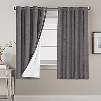100% Blackout Linen Look Waterproof Grey Curtains for Bedroom Blackout Drapes 63 inches Long Grommet Window Treatment Curtain Draperies, 2 Panels