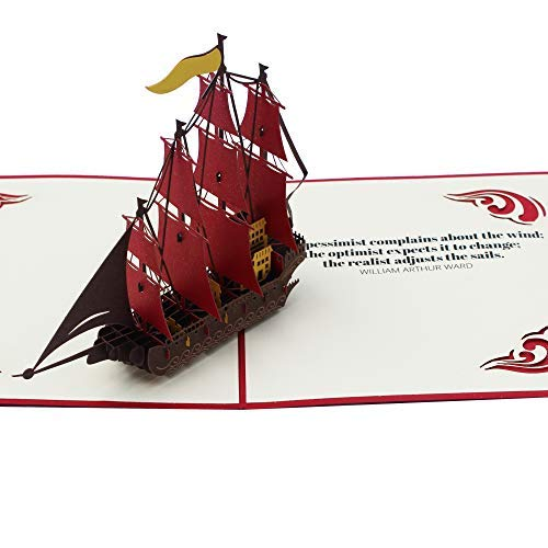 Dekali Designs 3D Boat Card with Inspirational Sailing Quote   Sailboat Pop Up Card to Give with Gifts for Boat Lovers, Gifts for Fishermen, Gifts for Sailors   Boating Gifts for Men or Women