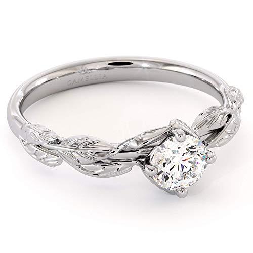 CVD Diamond Engagement Ring 14K White Gold Leaf Flower Ring Lab Grown Diamond Ring