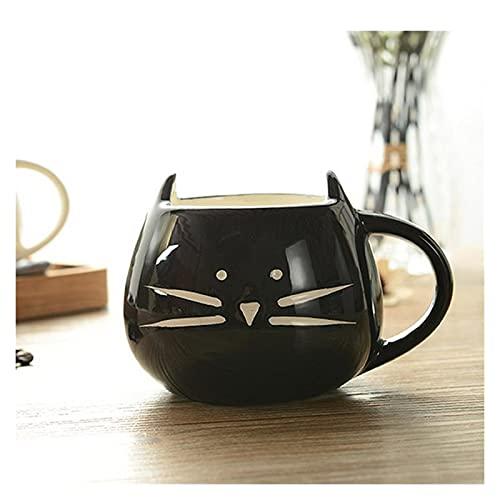 YUANLIN porzellantasse 1 stück 420ml Schöne weiße/Schwarze Katze Kaffee Milchlicht Keramikliebhaber Becher Paare Cup für Home Office porzellantasse Bone China (Color : Black)