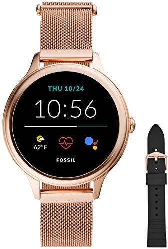 Fossil Damen Touchscreen Smartwatch 5E. Generation mit Lautsprecher, Herzfrequenz, GPS, NFC und Smartphone Benachrichtigungen + Fossil Watch Strap S181369