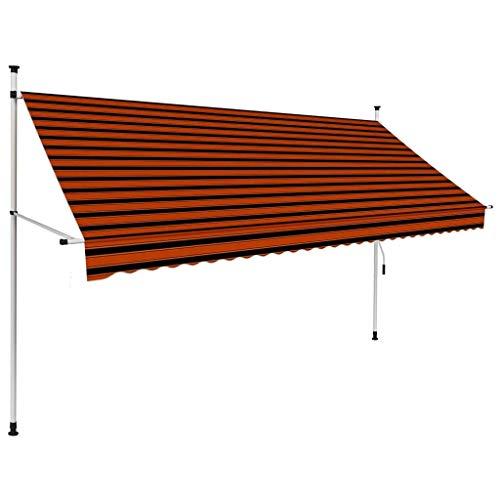 vidaXL Markise Einziehbar Handbetrieben Wasserabweisend Klemmmarkise Balkonmarkise Sonnenschutz Terrasse Balkon Garten 300cm Orange Braun