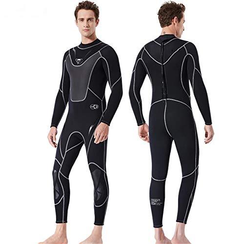 ACCLD Traje de neopreno ultra elástico para hombre, 3 mm, neopreno, para surf, natación, buceo, triatlón, traje mojado para agua fría, esnórquel, pesca submarina, negro, M