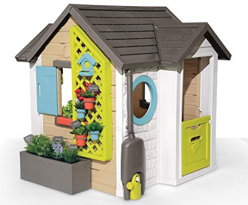 Smoby- Casita Infantil Tematizada Garden House, con Herramientas de Jardinería, 6 Macetas, Casa para Pájaros, Mesa de Trabajo, A Partir de 2 Años