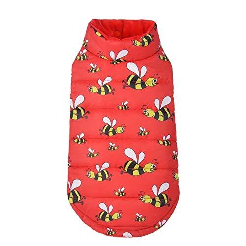 Durable Outils Bee Imprimer Manteau De Chien pour Chien d'hiver Veste Chiot Veste Costume Chaud Chihuahua Vêtements De Chien pour Les Petits Chiens, Rouge, XL