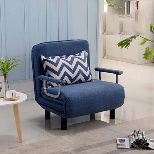 FLB Canapé Lit Fauteuil Pliant Lazy Couch Lit Convertible Sleep Lounge Chaise Bureau Lit Double,Blue