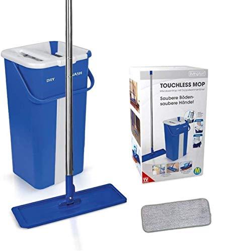 Mediashop Livington Touchless Mop – Bodenwischer Set mit Eimer zum Auswringen ohne Bücken – Wischmopp für einfache Reinigung und saubere Hände – 2,7 L Wischeimer