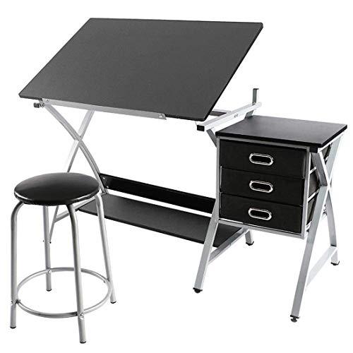 Mesa de dibujo ajustable FOBUY con taburete y 3 cajones de almacenamiento, color negro
