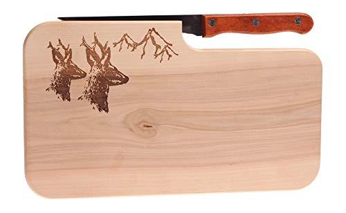 Brotzeitbrett mit Motiv Reh für Jäger 25,5x14,5x1,3cm