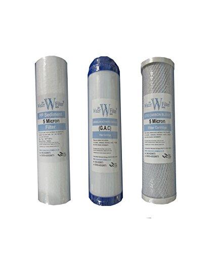 Osmosis Inversa Filtro de agua Set: Etapa 1, 2 y 3 - Los sedimentos PP, Carbon CTO, y Granular Carbon. 10 pulgadas x 2.5 pulgadas
