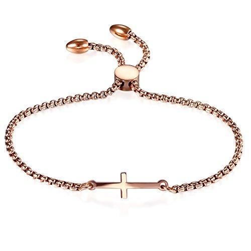OIDEA Edelstahl Armkette Damenarmband Armreif Charmsarmband Kreuz Anhänger Armband Verstellbar für Damen, Silber (Rosegold)