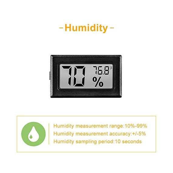 12 Pack Mini Small Digital Electronic Temperature Humidity Meters Gauge Indoor Thermometer Hygrometer LCD Display… 5 Mini Digital Humidity Thermometer allows you to easily know the environment temperature and humidity around you 2in1 meter with built-in probe; digital electronic thermometer and hygrometer for measuring temperature and humidity for indoor use Fahrenheit (°F) display, this thermometer displays temperature in Fahrenheit