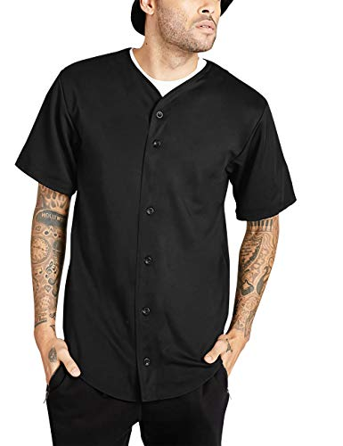 Ma Croix Mens Premium Baseball Button Down Jersey Shirt Short Sleeve Athletic Sports Tee (Large, 1KSX0002_Black)