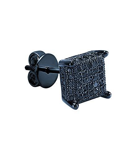 Dazzlingrock Collection Pendiente de tuerca para hombre con diseño de cubo de hielo (sólo 1 unidad), disponible en diamantes y metal chapado en rodio negro de 10 K/14 K/18 K y plata de ley 925
