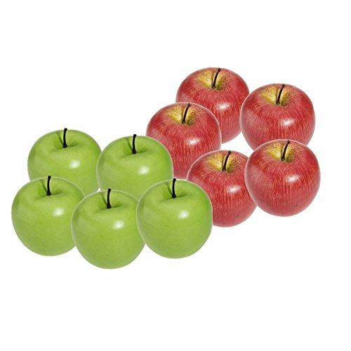 SODIAL (R) 10 Stueck Dekorative Kuenstliche Apfel Kunststoff Obst Imitation Wohnkultur - Rot & Gruen