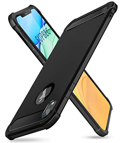 "iPhone XR Case with Card Holder and[Screen Protector Tempered Glass x2Pcs] SUPBEC Protective Ultra-Thin-Slim Cover with Silicone TPU Shockproof Rubber Wallet Case for iPhoneXR 6.1""-Black"