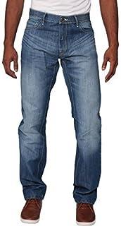 New Mens Enzo Regular Fit Straight Denim Blue Jeans Pants All Waist Sizes Light Stone Wash 34 W X34L