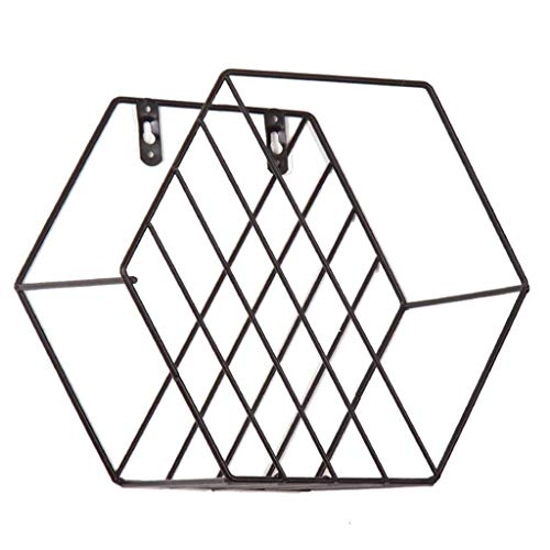 Fliyeong - Estantes de almacenamiento de metal geométrico para pared, para decoración del hogar, sala de estar, dormitorio, cocina, baño, creativo y útil