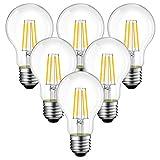 6 Unidades 7.5W Bombillas LED con Filamento E27, 1055 Lúmenes, 2700K Blanco Cálido, A60 Lámpara Vintage Retro Decorativa, No Regulable -ANWIO.