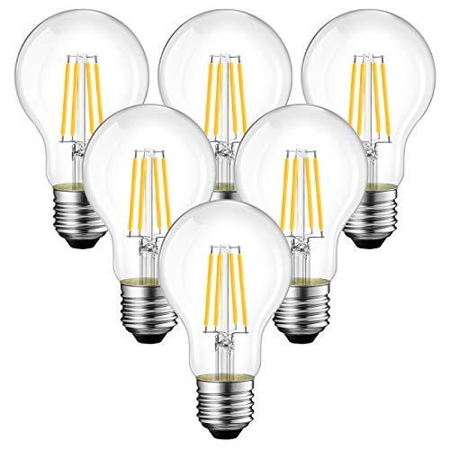 ANWIO 6.5W E27 Filament LED Glühfaden A60, 6500K Kaltweiß, Ersatz für 60W Glühlampe, ultrahell 806 lm, nicht dimmbar, Rustikalampe in Kolbenform, Filamentstil klar (6er Pack)