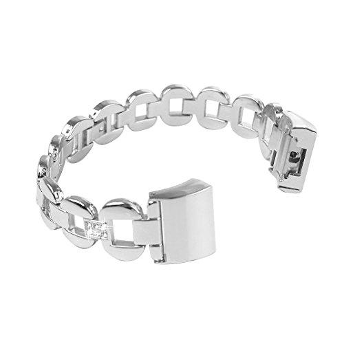 Bracelet Fitbit Charge 2, Rosa Schleife®Bracelet Montre Femme Bracelet Metal Band avec Métallique Zinc Rhinestone wristband Sport band strap pour Fitbit Charge 2 Fitness Tracker (No Tracker)-Argent