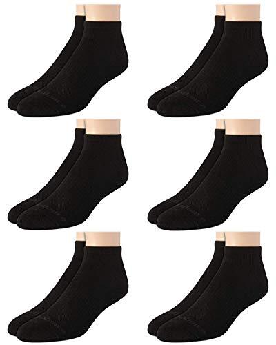 New Balance Men's Athletic Arch Compression Cushion Comfort Quarter Socks (6 Pack), Black, Size Shoe Size: 6-12.5'