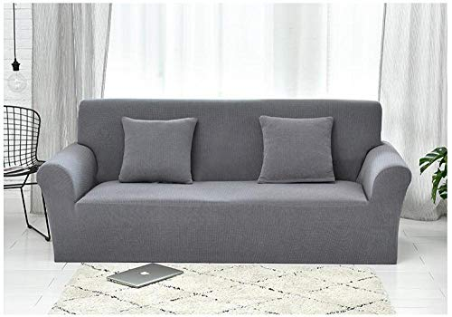 Allenger Stretch Velvet Optic Couch Cover,Strick-Stretch-Sofabezug aus Karo, Rutschfester Kissenbezug mit Vollbezug, Schutzhülle gegen Verschmutzung zu Hause - Rouge_235-300 cm