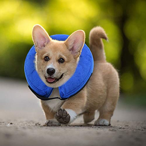 """E-KOMG Dog Cone After Surgery, Protective Inflatable Collar, Blow Up Dog Collar, Pet Recovery Collar for Dogs and Cats Soft (Small(6""""-9""""), Blue)"""