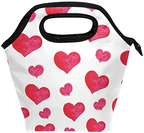Bolsa de almuerzo acuarela rojo amor corazón patrón aislado lonchera térmica portátil contenedor de alimentos enfriador reutilizable