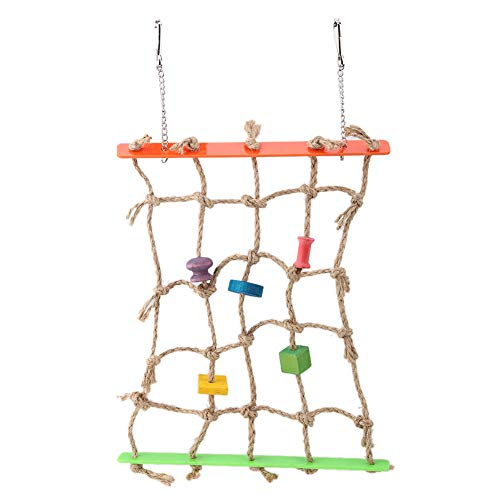 Pet Birds Climbing Net Toy, Colorful Wood Blocks Acrylic Hemp Rope Parrot Cage Toys Hanging Climbing Chewing Toy for…