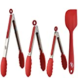 Kaluns Tongs For Cooking With Silicone Tips, 4 Piece Tongs Set, Red, Stainless steel 7-9-12 Inch Tong With Bonus Silicone Spatula Best Non-stick, Heat resistant Serving Utensils Tools