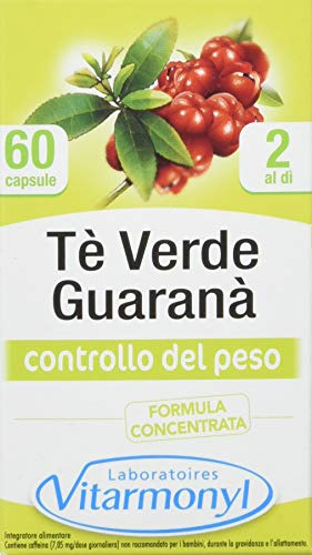 Vitarmonyl TE VERDE GUARANA  Integratore 60 capsule  Controllo del Peso  Formula concentrata  Registrato Ministero Salute Italiano
