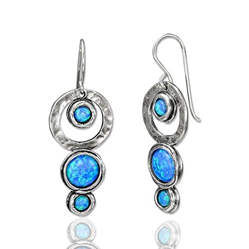 SHABLOOL Pendientes de plata de ley 925 con cabujón azul claro de ópalo de piedras preciosas en cascada regalo joyas hechas a mano hermosos detalles finos un regalo esencial para el día de la madre