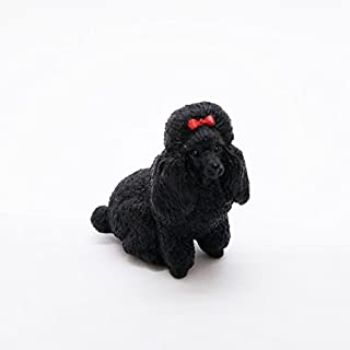 WitnyStore Miniature Dog PooDle Black Cute Figurine Collectibles Resin Dolls Hand Decor