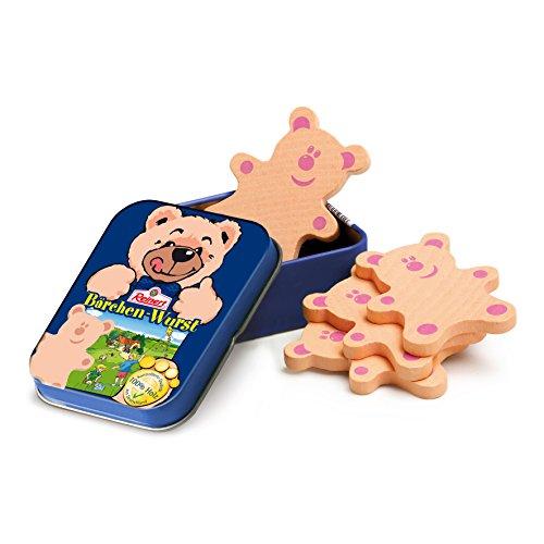 Erzi 15131 Bärchenwurst von Reinert aus Holz in der Dose, Kaufladenartikel für Kinder, Rollenspiele