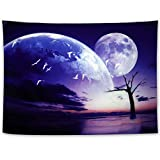 Anime Big Moon Tapestry, Bimonthly Sunset Evening Cloud White Bird Flying in The Sky Wall Hanging,3D High-Definition Printing Art Posters, Used for Living Room Bedroom Dormitory Wall Decoration (78.7x59.1inch)