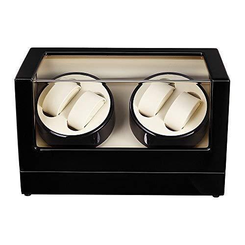 ZhenHe Caja de almacenamiento automática para 4 relojes, a prueba de polvo, caja de almacenamiento para relojes de madera