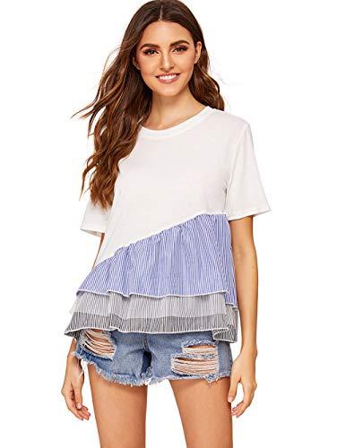 Floerns Women' Short Sleeve Ruffle Peplum Babydoll Blouse Top A-White-2 S