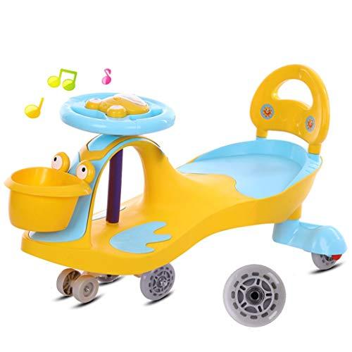 Moolo Niños Twist Car,Swing Car Scooter Giratorio Wiggle Toyf Regalo Coche para Twist Volante correpasillos (Color : Amarillo)