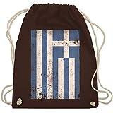 Städte & Länder Kind - Griechenland Flagge Vintage - Unisize - Braun - Vintage - WM110 - Turnbeutel und Stoffbeutel aus Baumwolle