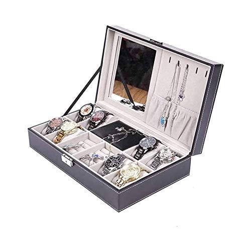 LSLS Caja joyero Organizador de Caja de joyería Rectangular para Pendientes, Anillos, Pulseras, Collares, Regalos de cumpleaños Regalos para Hombres y Mujeres Organizador de Joyas