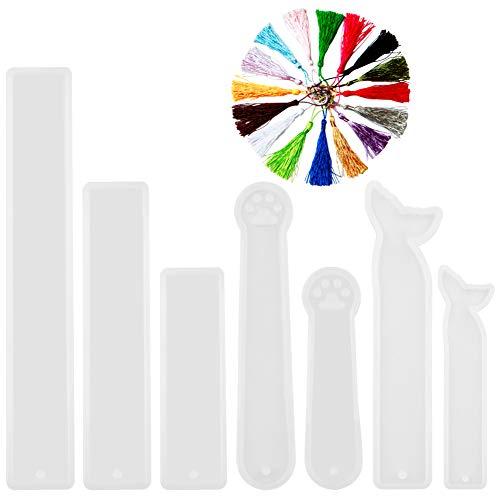 Vitasemcepli Set di 7 Stampi Segnalibro in Silicone Resina Fai a Te a Fare Ottime Colate o Creare Ciondoli in Resina e Il Prodotto Tira Facile e Rimane Lucido Include14 Nappine a Colori Diversi