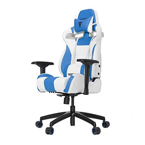 VERTAGEAR Racing Seat Gaming Chair, S-Line Medium SL4000 BIFMA Cert, White/Blue