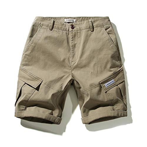 lxylllzs Herren Cargo Shorts Sommer,Casual Shorts für Herren, einfarbiger Fünf-Punkte-Overall-Khaki_42,Outdoor Sommer Freizeit Kurze Hose,