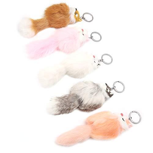 KUIDAMOS 5 Colores, Llavero de Animal de Felpa Suave de 5 Piezas, llaveros mullidos de Pom Pom de decoración de Ropa,