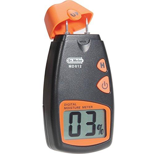 Dr.meter MD812 - Medidor de humedad digital con 2 pines, Sensor para las paredes, Madera de calefacción, color Negro/naranja